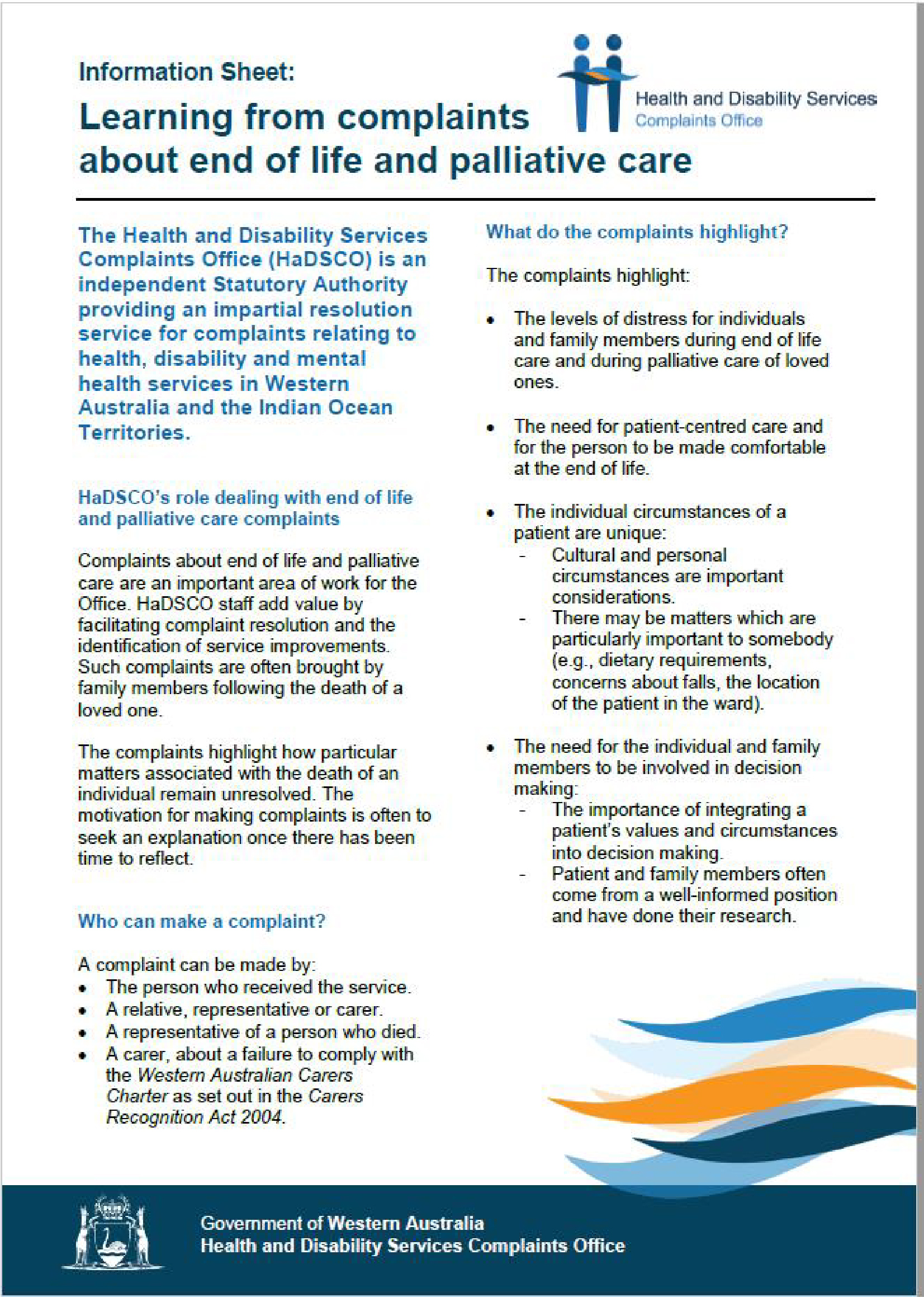 Information Sheet Learning from complaints about end of life and palliative care